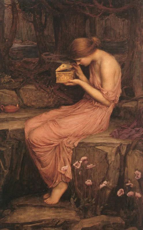 Psique abriendo el cofre de Pandora. Whaterhouse,1896.