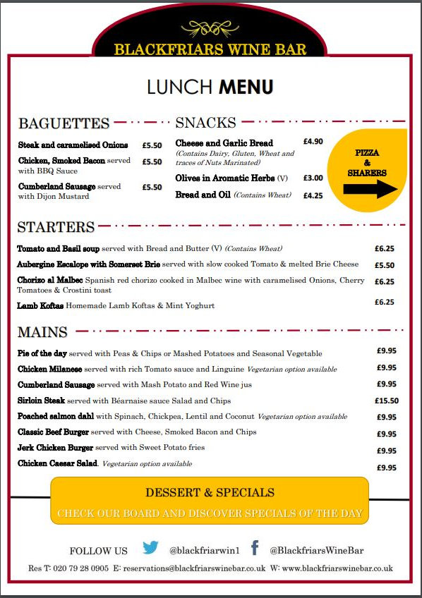 Blackfriars Wine Bar Food Menu