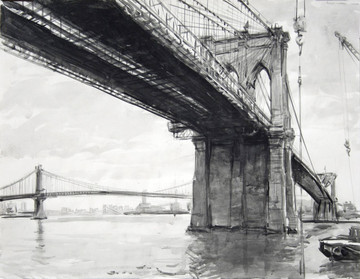 Brooklyn Bridge lithograph