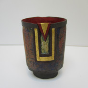 Oval Vessel in grey with red inside