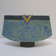 Aqua Vessel with Blue Interior