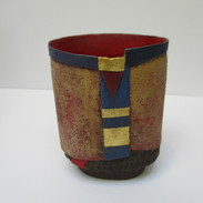 Oval Vessel with red inside