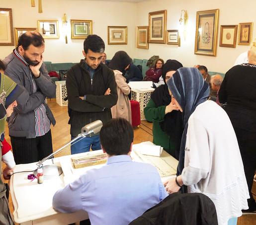 Ahmet Kutluhan at his weekly class teaching calligraphy at Balaban Tekkesi in Istanbul, Turkey. 2019