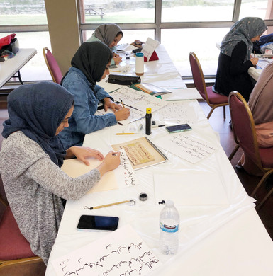Haji Noor Deen's students working on their meshk during his yearly two week visit to Dallas, Texas.  2019