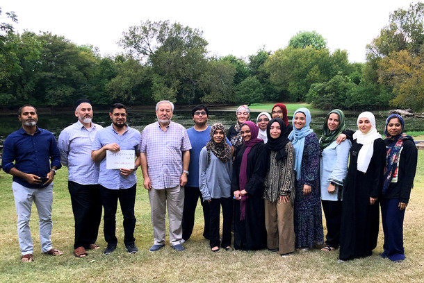 Class picture with Haji Noor Deen upon completion of his yearly two week visit to Dallas, Texas. 2019.