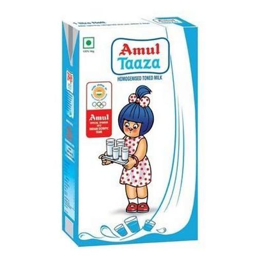 Amul Taaza Homogenised Toned Milk - 1 L (Tetra Pack)