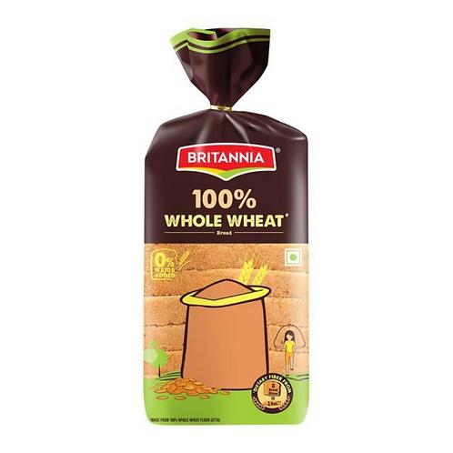 Britannia 100% Whole Wheat Bread, 400 g Pouch