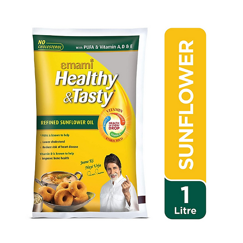 Emami Healthy & Tasty - Refined Sunflower Oil, 1L Pouch