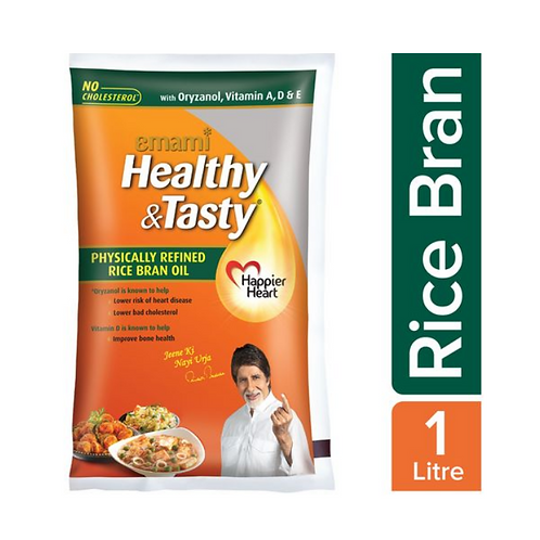 Emami Healthy & Tasty - Rice Bran Oil, 1L Pouch