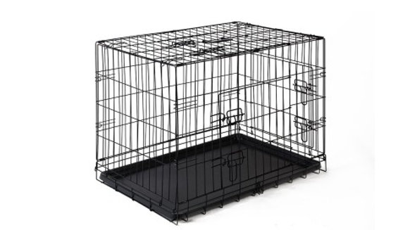 "30"" Pet Cage Crate Collapsible Black Metal"