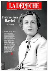 Une de La Dépêche à la mort d'Evelyne Baylet