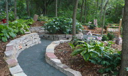 Garden bench and path
