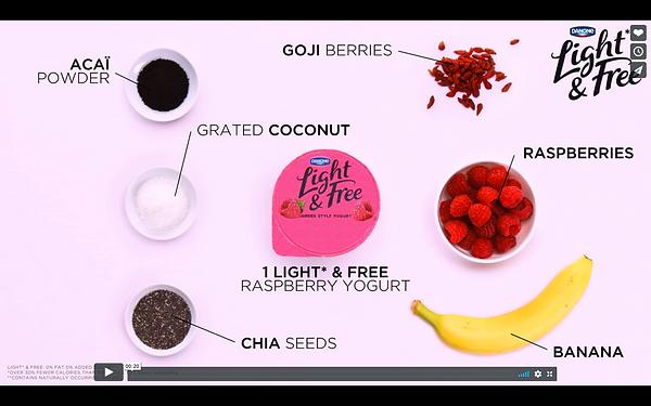 vidéo recette açai bowl framboise danone - designer culinaire Laure-Anne Caillaud