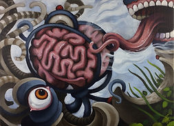 tickler popsurrealism brains gunnarfoley acrylicpainting