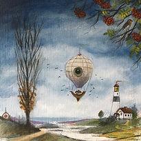 Rödhake luftskepp målning landskap