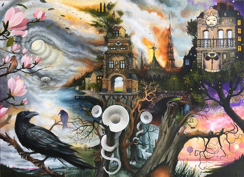 towerofsong newcontemporaryart magicalrealism narrativeart popsurrealism gunnarfoley