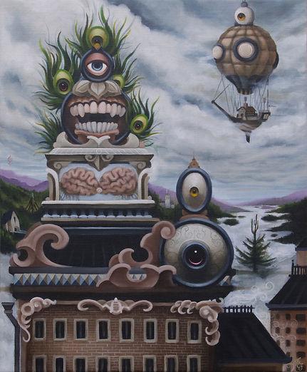 Daruma hotairballoon detgränslösagränslandet theboundlessborderland postsurrealism popsurrealism gunnarfoley