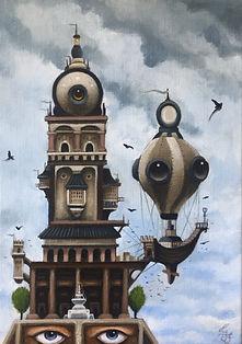 watchtower detgränslösagränslandet acrylicpainting konst gunnarfoley