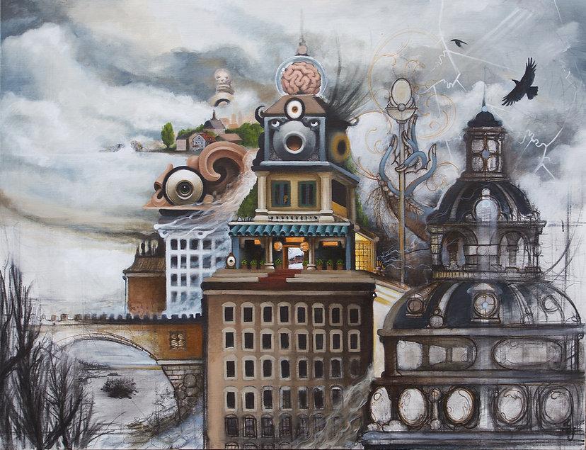 paradiselost postsurrealism popsurrealism surrealism gränslandet gunnarfoley theboundlessborderland acrylicpainting stockholmartist