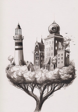 TreeTown illustration postsurrealism