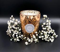 Rose gold glass soy wax candle