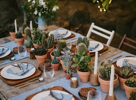 Beautiful Cactus Plants & Candle Table Setting