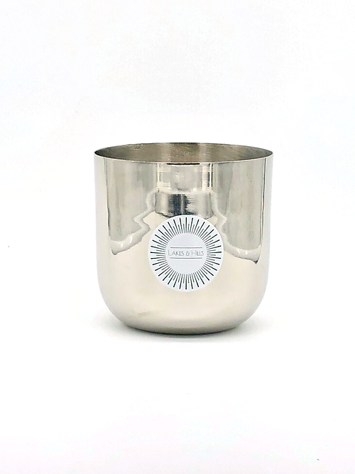 Smooth Silver Metal Soy Wax Candle - Large 450g