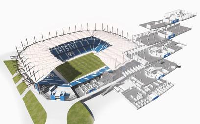 Schnittperspektive Volksparkstadion für eine Infografik des Hamburger Abendblatts