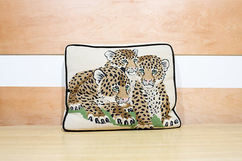 Vintage Needlepoint Pillow - Tiger