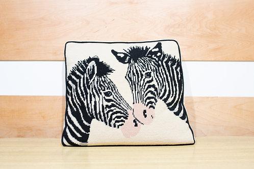 Vintage Needlepoint Pillow - Zebra
