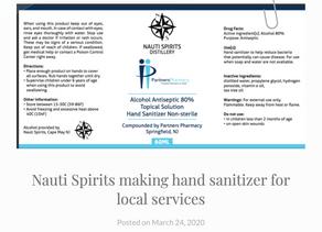 Nauti Spirits making hand sanitizer for local services