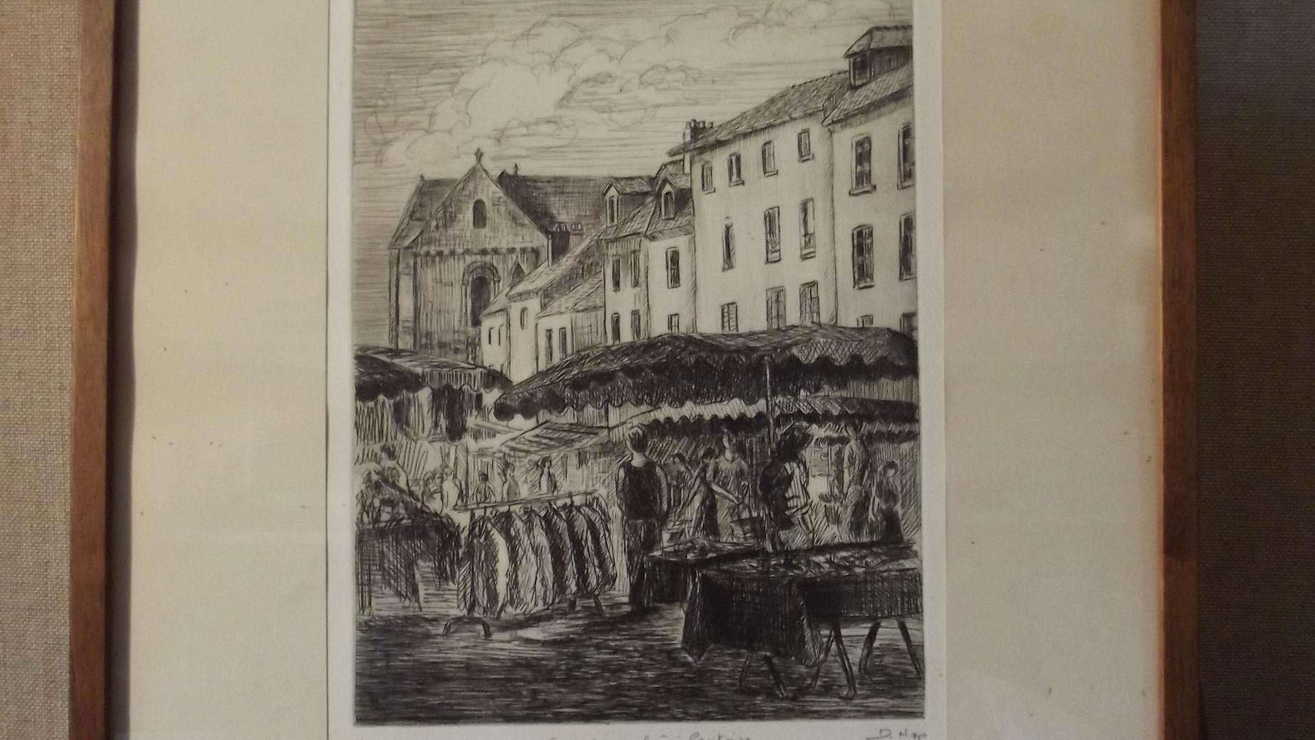 Scène de marché à Pontoise