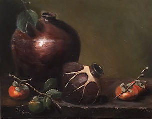 Persimmons with Pottery