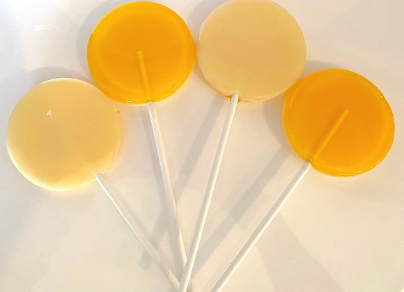 Front and Back view of the Lemon Meringue Lollipop