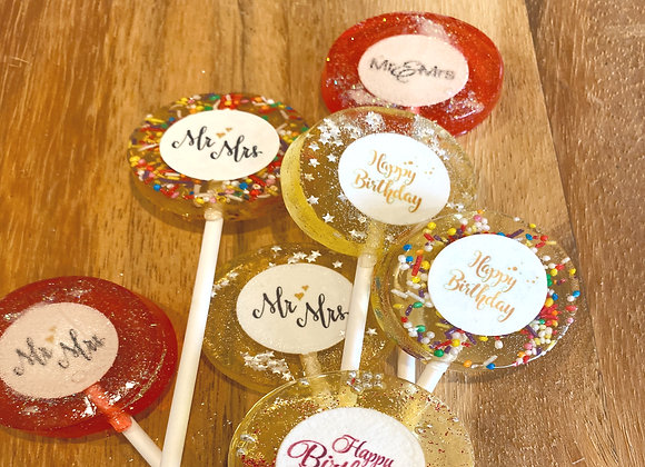 Top view of personalised Lollipops