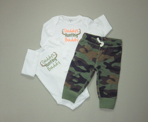 967eed8dc Daddy's Little Hunter. Antler Embroidered Bodysuit. Baby Camouflage Pants