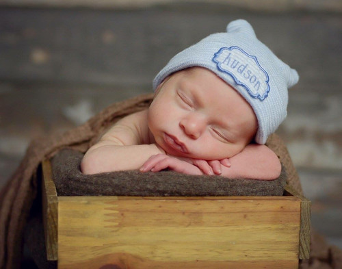 34985047 Newborn hospital hat with baby's name embroidered Personalized newborn hat  name embroidered on seersucker applique