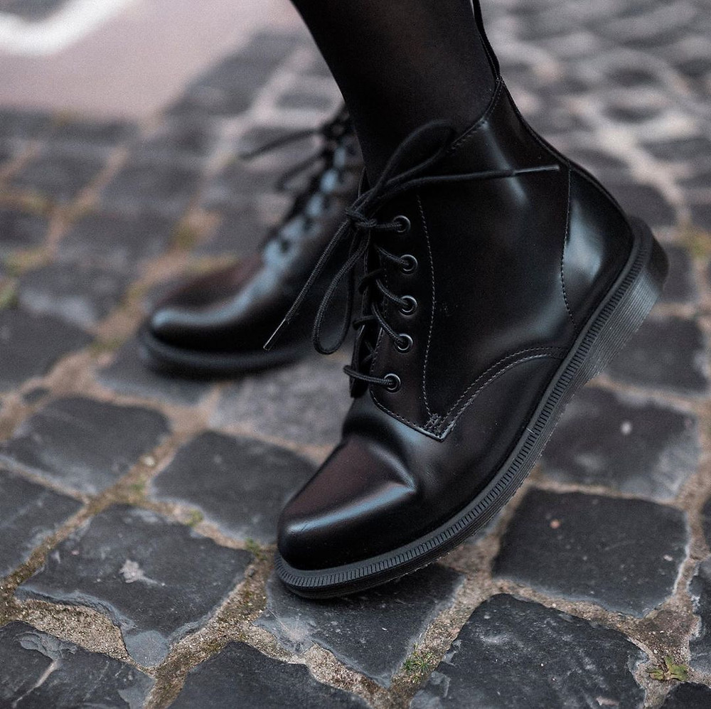 Black Military Style Dr Martens Boots