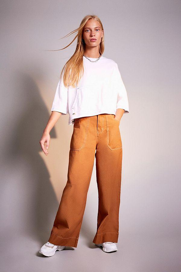 Mustard/Brown Cargo Trousers Wide leg