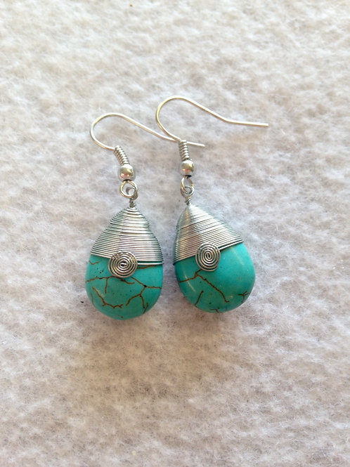 Teardrop with Silver Swirl Earrings