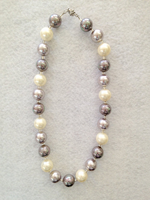 Glass Large Beads White&Gray Necklace