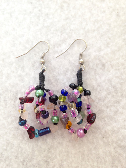 Black and Multicolored Bead Earrings