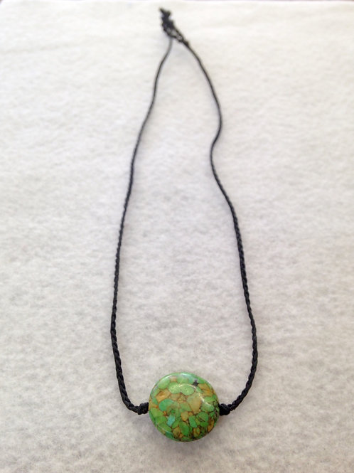 Green Pendant on Black Rope Necklace