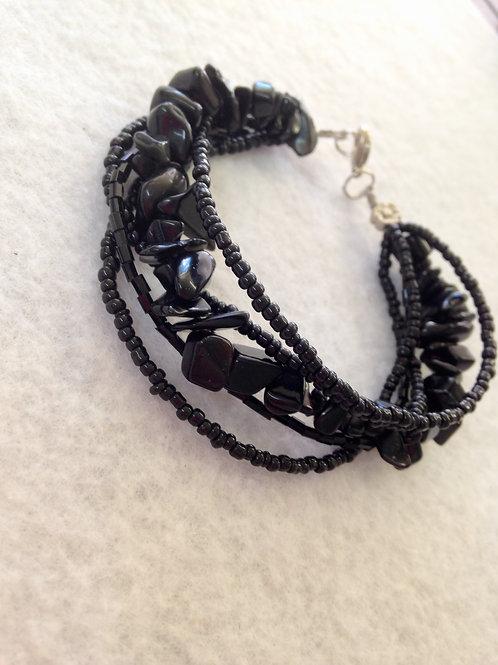Black beaded Bracelet (wire)