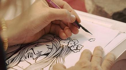 Close Up einer Zeichnung während den Dreharbeiten an der Fernsehsendung Zeichner der Zeit