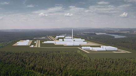 Eine Luftaufnahme eines Kraftwerks für die Produktion der Dokumentation Atomstreit in Wackersdorf