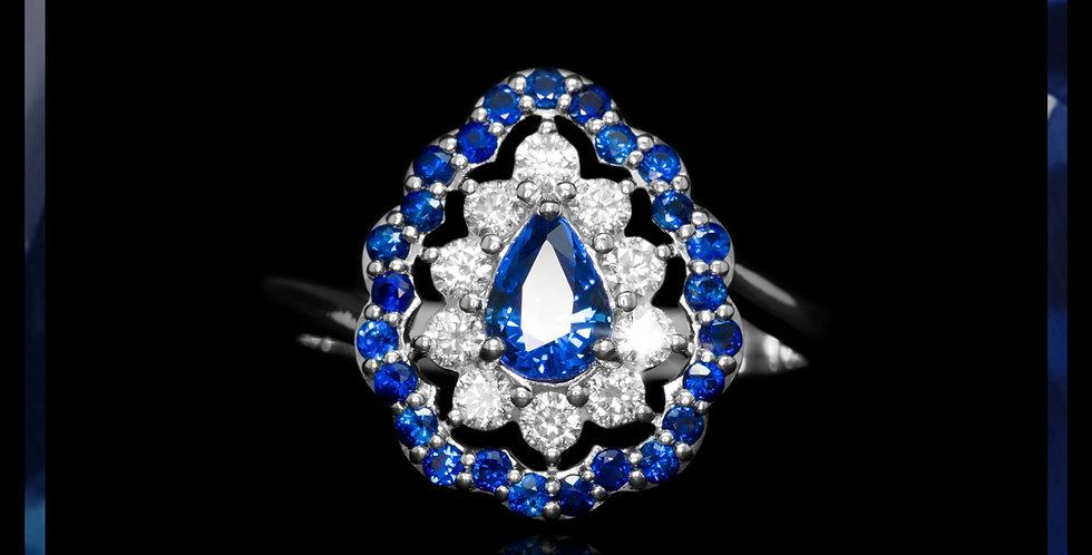 Le Soleil Halo Sapphire Ring