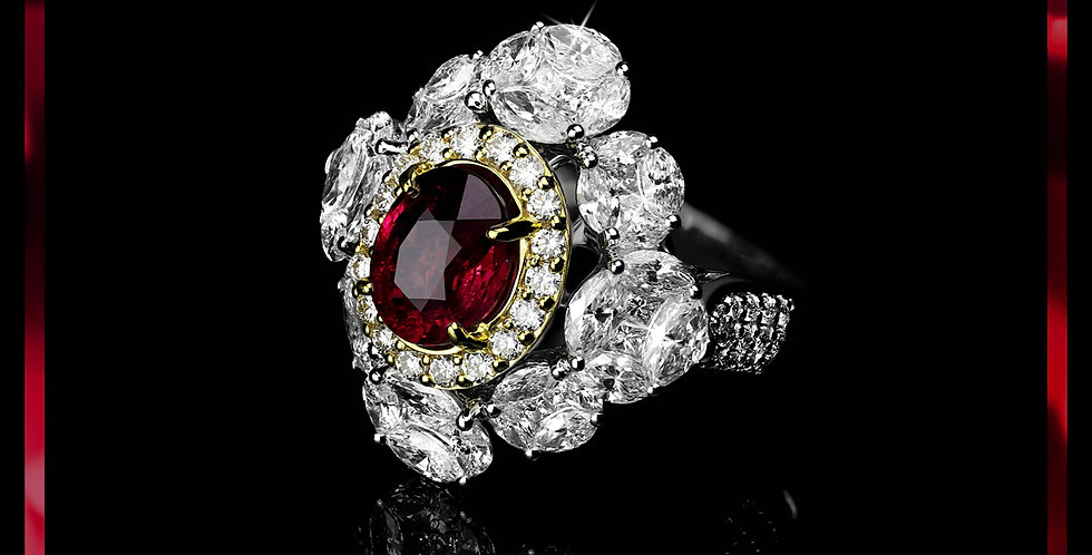 Avantgarde Ruby Cluster Ring
