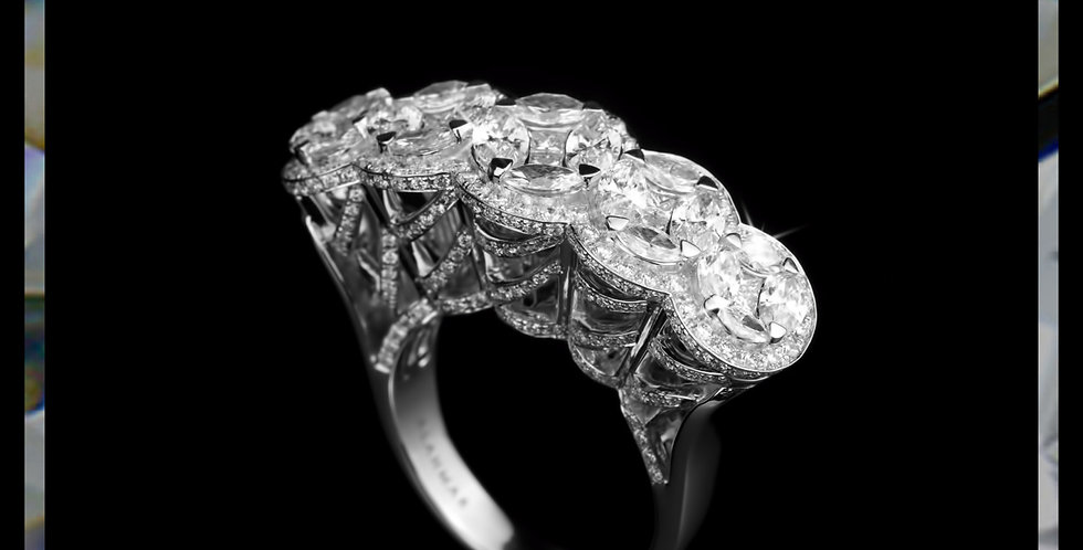 Damascene Diamond Cluster Ring