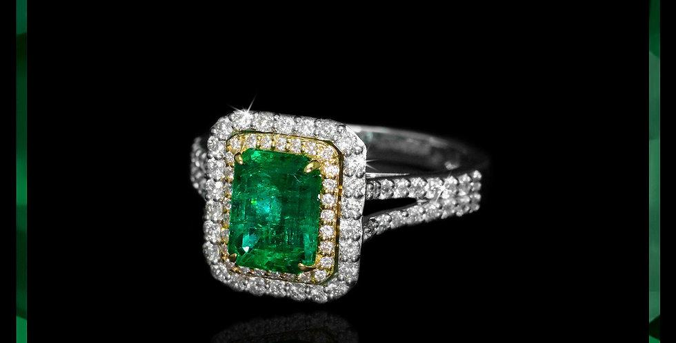 Avantgarde Emerald Halo Ring